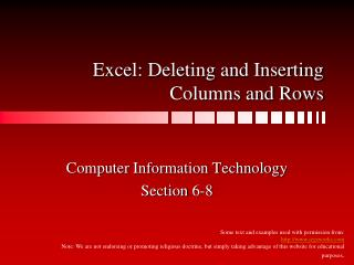 Excel: Deleting and Inserting Columns and Rows