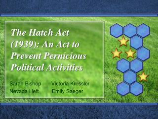 The Hatch Act (1939): An Act to Prevent Pernicious Political Activities