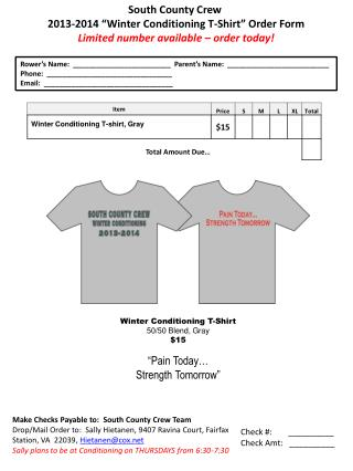 "South County Crew  2013-2014  ""Winter Conditioning T-Shirt"" Order Form"