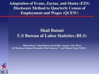 Shail Butani U.S Bureau of Labor Statistics (BLS)