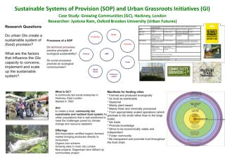 Sustainable Systems of Provision (SOP) and Urban Grassroots Initiatives (GI)