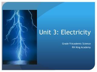 Unit 3: Electricity