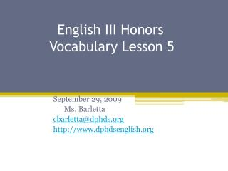 English III Honors           Vocabulary Lesson 5