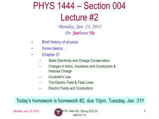 PHYS 1444 – Section  004 Lecture  #2