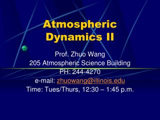 Atmospheric Dynamics II