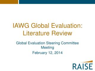 IAWG Global Evaluation: Literature Review