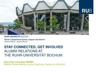 STAY CONNECTED, GET INVOLVED ALUMNI RELATIONS AT  THE RUHR-UNIVERSITÄT BOCHUM