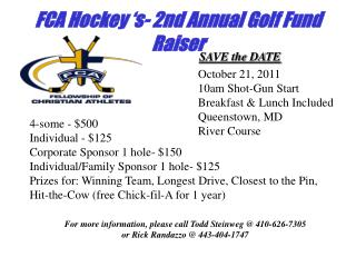 FCA Hockey 's- 2nd Annual Golf Fund Raiser