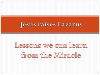 Lessons we can learn from the Miracle