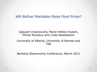 Will Biofuel Mandates Raise Food Prices?