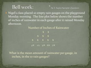 Bell work:  		* ACT Aspire Sample Question