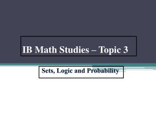 IB Math Studies – Topic 3
