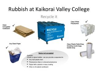 Rubbish at Kaikorai Valley College