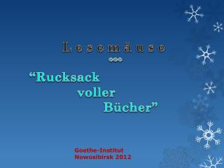 "L e s e m ä u s e *** ""Rucksack voller Bücher """