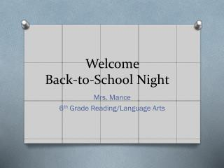 Welcome Back-to-School Night