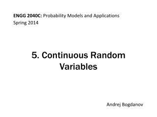 5. Continuous Random Variables