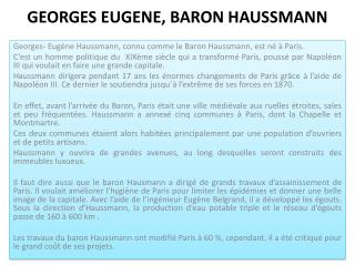 GEORGES EUGENE, BARON HAUSSMANN