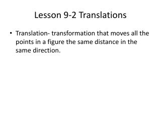 Lesson 9-2 Translations