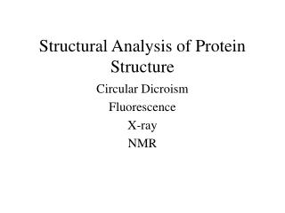 Structural Analysis of Protein Structure