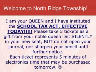 Welcome to North Ridge Township!