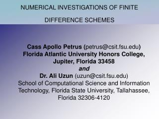 NUMERICAL INVESTIGATIONS OF FINITE DIFFERENCE SCHEMES