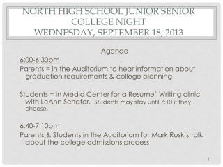 North High School Junior Senior College Night   Wednesday, September 18, 2013