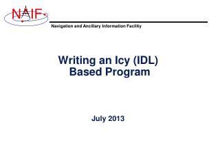 Writing an Icy (IDL)  Based Program