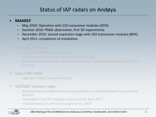 Status  of  IAP  radars  on  Andøya