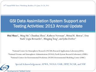 GSI Data Assimilation System Support and Testing Activities: 2013 Annual Update