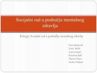 Socijalni rad u području mentalnog zdravlja