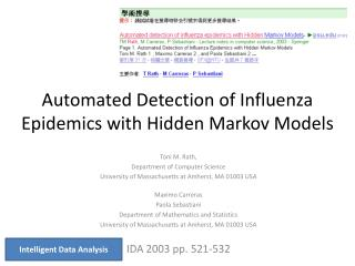 Automated Detection of Influenza Epidemics with Hidden Markov Models