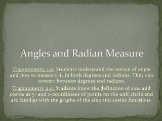 Angles and Radian Measure