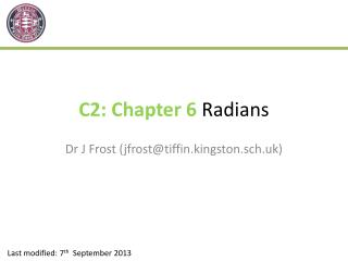 C2: Chapter  6  Radians