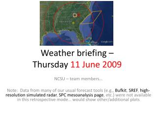 Weather briefing –  Thursday  11 June 2009