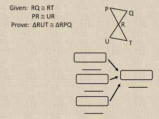 Given:  RQ  ? RT     PR  ?  UR  Prove:  ?RUT  ?  ?RPQ