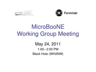MicroBooNE  Working Group Meeting