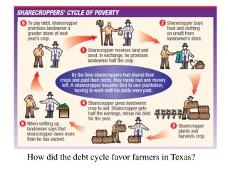 How did the debt cycle favor farmers  in Texas?