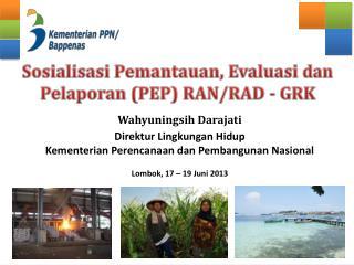 Sosialisasi Pemantauan, Evaluasi dan Pelaporan (PEP)  RAN/ R AD - GRK