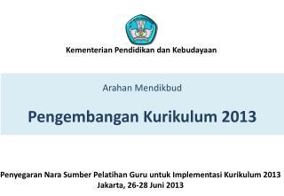 Arahan Mendikbud Pengembangan  Kurikulum  2013