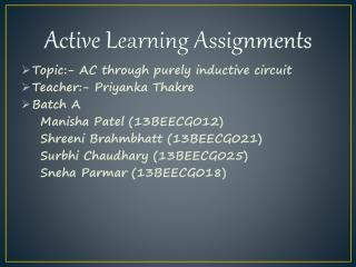 Active  Learning Assignments