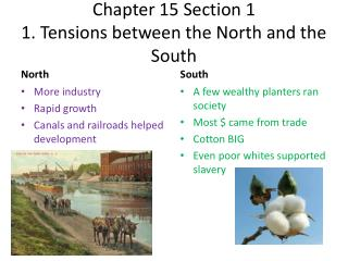 Chapter 15 Section 1 1 .  Tensions between the North and the South