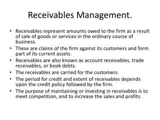 Receivables Management.