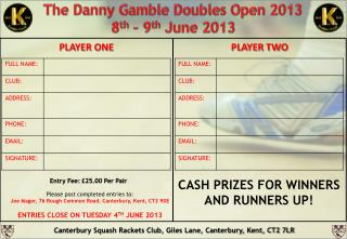 The Danny Gamble  Doubles Open 2013 8 th – 9 th June  2013