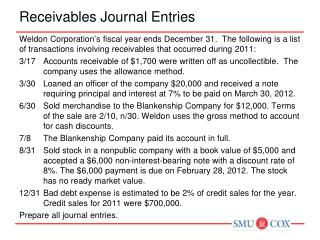 Receivables Journal Entries