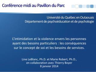 Université  du Québec en Outaouais Département de psychoéducation et de  psychologie