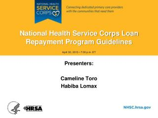 National Health Service Corps Loan Repayment Program Guidelines