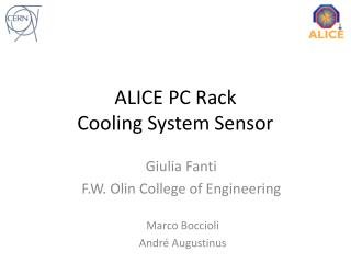 ALICE PC Rack  Cooling System Sensor
