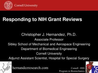 Responding to  NIH Grant  Reviews