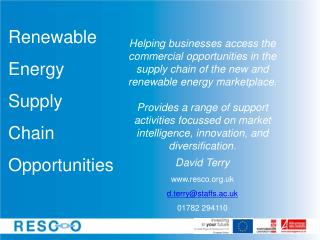 Renewable  Energy  Supply  Chain  Opportunities