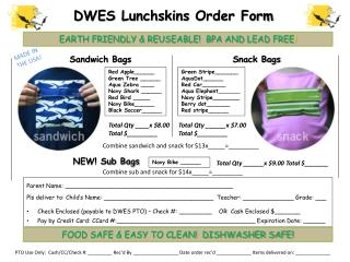 DWES  Lunchskins  Order Form